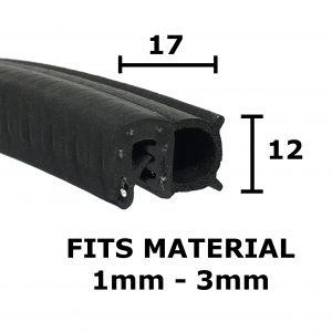Medium Combined Door Seal Trim 17mm x 12mm - 50 meters