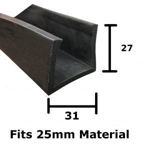 Rubber U Channel 31mm x 27mm