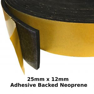Self Adhesive Expanded Neoprene 25mm x 12mm Strip