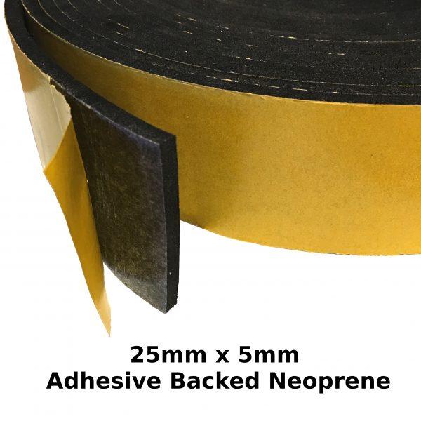 Self Adhesive Expanded Neoprene 25mm x 5mm Strip