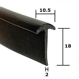 Small T-Section EPDM rubber trim.